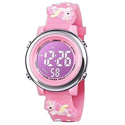 BIGMEDA Reloj Digital para Niños Niña, Luz Intermitente LED de 7 Colores Reloj de Pulsera Niña Multifunción, para Niños de 3 a 12 años (Unicornio)