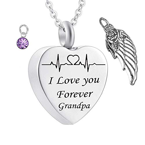 Daesar Stainless Steel Heart Necklace for Women and Men Heart Necklace Angel Wings ECG Customized Necklace Engraving I Love You Forever Grandpa Customizable Necklace Birthstone June