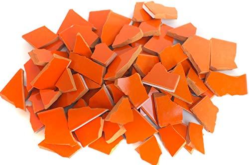 900g Bruchmosaik, Mosaikfliesen aus handgefertigten Fliesen - pumpkin orange