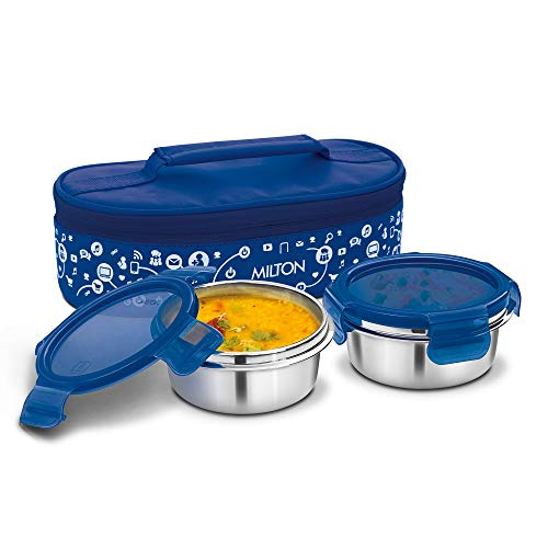 Milton Lifestyle Lunch Stainless Steel Lunch Box, 2 Containers, Blue
