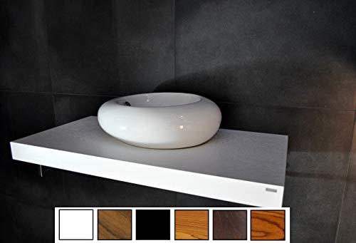 Carl Svensson Edler Waschtisch Waschtischplatte Walnuss/Wenge WT-100 + WT-100H (WT-100 Weiß mit Standarthalterung)