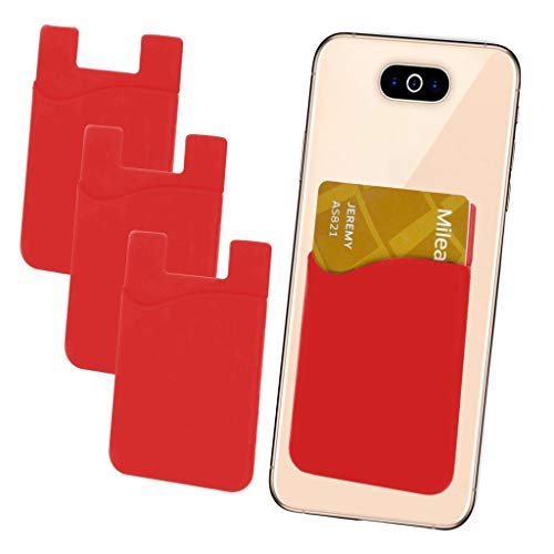 i-Tronixs - Confezione da 3 Porta Carte di Credito, in Silicone, con Adesivo 3M, per Nokia Asha 210 (Compatibile con iPhone/Android/Tablet)