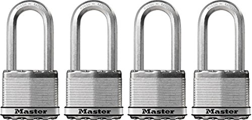Master Lock Padlock, Magnum Laminated Steel Lock, 2 in. Wide, M5XQLH (Pack of 4-Keyed Alike)