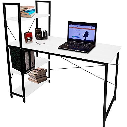 Just Home Rack & Pack Escritorio para Computadora Escritorio Oficina Mesa Estudio Trabajo Escritorio Madera Moderno con Repisas Blanco