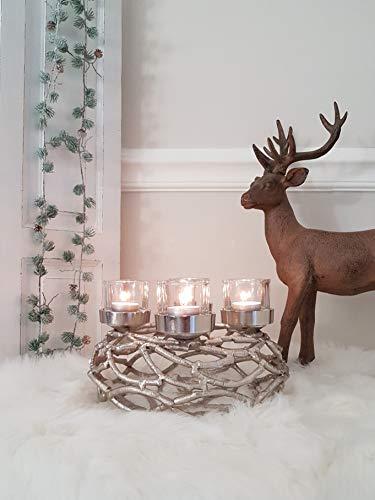 EXOTICA COR MULDER Adventskranz Weihnachtskranz Äste AST rund Silber Aluminium 27 cm
