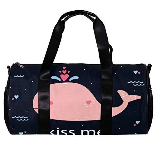 Runde Sporttasche mit abnehmbarem Schultergurt, Kiss Me Pink Wal Training Handtasche für Damen und Herren