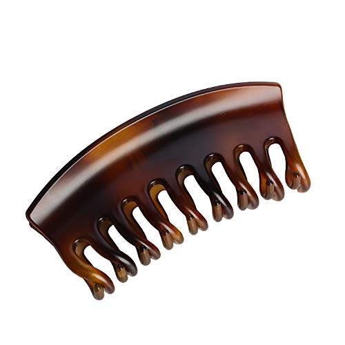 DEEKA 6 Inches Extra Large Size Hair Claw Clips Thick Long Hair Clips Resin Plastic Tortoise Shell Hairpins Fashion Stylish Hair Grips Hair Barrettes for Women (Brown)