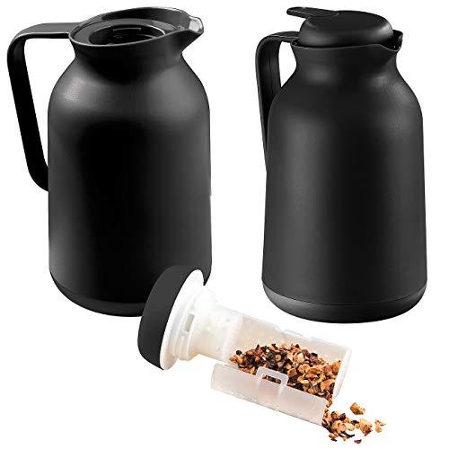 Rosenstein & Söhne Vakuum-Teekanne: 2er-Set 2in1-Vakuum-Isolierkannen für Kaffee und Tee, mit Teesieb, 1 l (Teekanne mit Einsatz)