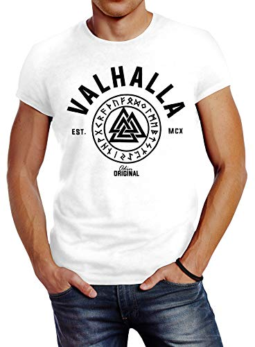 Neverless Valhalla Runen Vikings - Camiseta de manga corta para hombre Valhalla blanco. S