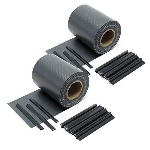 Wiltec Sichtschutz Streifen, 70mx19cm Anthrazit aus PVC 650g/m², mit 40 Clips, Zaunfolie