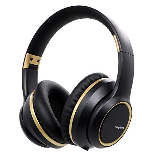 Auriculares con Cancelación de Ruido Inalámbrico Bluetooth 5.0, Srhythm 2020 Version NC15 Over-Ear Plegable con Micrófonos para Clase en Línea/Oficina en el hogar/TV/PC/Teléfono (Negro Frío)