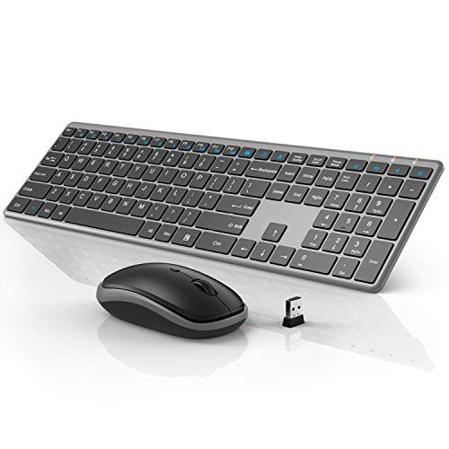 Wireless Keyboard and Mouse Combo, WisFox 2.4G Full-Size Slim Thin Wireless Keyboard Mouse for Windows, Computer, Desktop, PC, Laptop Mac (Silver Gray)