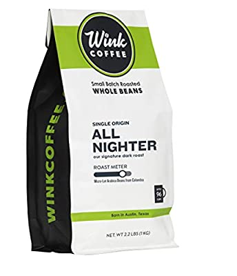 Wink Coffee All Nighter Dark Roast Whole Bean Coffee, Large 2.2 Pound Bag, 100% Arabica Coffee Beans, Single Origin Colombian, Rich, Smooth, Full Bodied and Complex, Sustainable