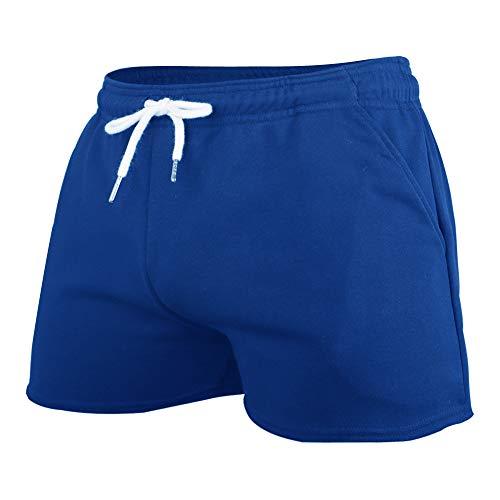 GYMAPE Hombres Gym Sports Bodybuilding Workout Shorts 3 Pulgadas con Raw Hem Design Blue M
