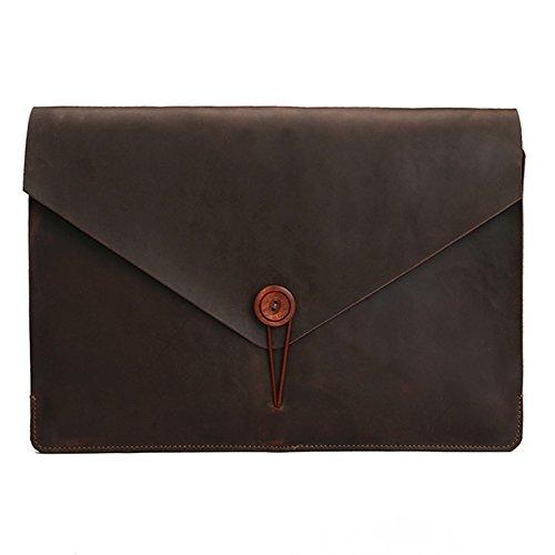 Notebook Bag Ufficio Universale Genuine Leather Affari Laptop Bag Tablet, for Il 12 Pollici e sotto MacBook, Samsung, Lenovo, Sony, dell Alienware, CHUWI, ASUS, HP (caffè) (Color : Coffee)