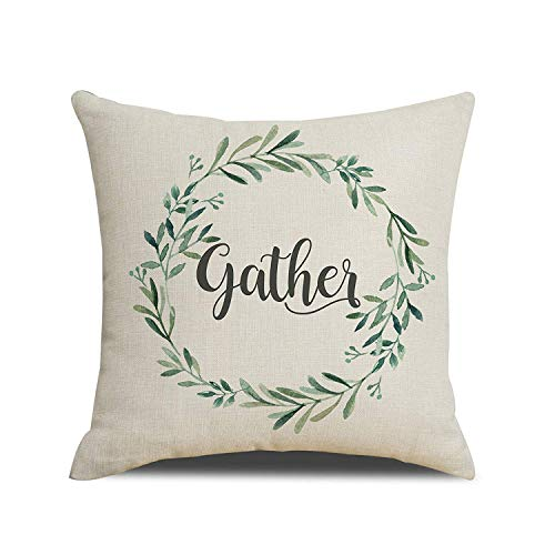 Rustic Gather Olive Branch Retro Farmhouse Style Cotton Linen Home Decorative Throw Pillow Case Cushion Cover For Sofa Home Office Indoor Decorative 16' X 16'(IN)