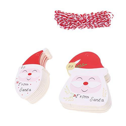 ABOOFAN 200 etiquetas de papel para colgar de Papá Noel, etiquetas decorativas para árbol de Navidad