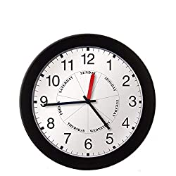 DayClocks Time & Day of The Week Wall Clock – Analog Clock with Time & Days of The Week – Home or Office Wall Clock with Days of The Week – Great Retirement Clock - 12 Modern Black Frame