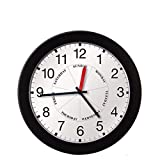 DayClocks Combination Analog Wall Clock – Time of Day and Day of the Week Clock – Office Wall Clock – Modern Black Frame