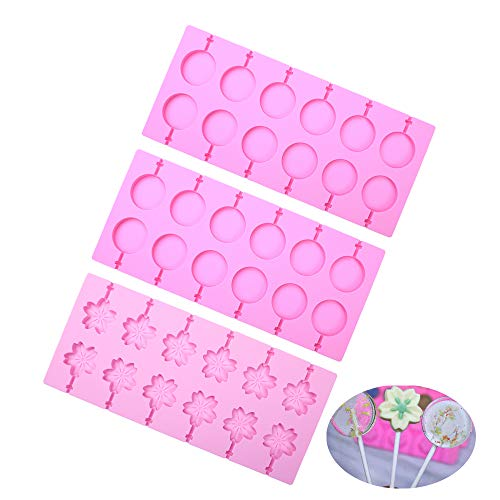 BAKER DEPOT 2 pcs Round Silicone Lollipop Molds Cherry Blossoms Chocolate Hard Candy Mold with 100pcs Paper Sticks Set of 3