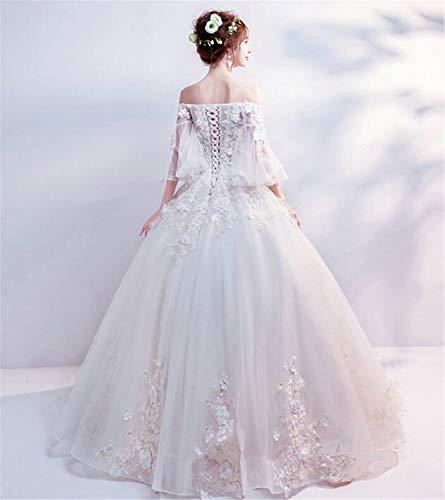 LYJFSZ-7 Hochzeitskleid,Elegante Damen Spitze Stickerei Braut Brautkleid Mit Ärmeln Prinzessin Bankett Partykleid Weiß Und Petticoat