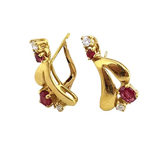orecchini donna pendenti oro 18kt 750 con rubini naturali e diamanti naturali chiusura monachella festa della mamma classic earrings
