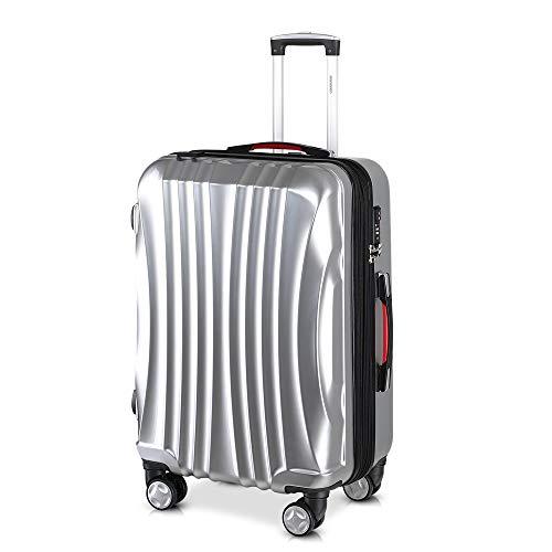 Monzana Reisekoffer Hartschalenkoffer Ikarus Trolley Koffer XL Silber