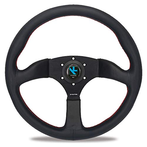 Kyostar Universal 350mm Classic Steering Wheel, 6 Bolt Steering Wheel with Black Perforated Leather