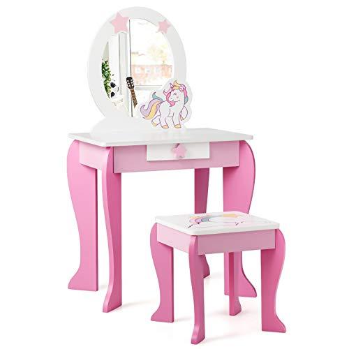 COSTWAY Set Toletta per Bambini con Sgabello Specchio e Cassetti, Toeletta per Bambini in Legno, Rosa & Bianco 89x49,5x35,5cm