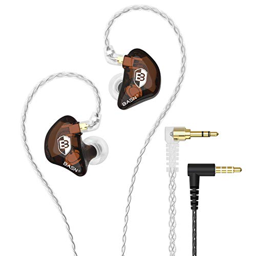 BASN Bsinger LUX in Ear Monitor Headphones with Upgraded Silver-Plated Wire Noise Cancelling Earphones for Musicians Audio Engineers Drummers (Brown)