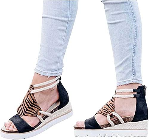 QSLS Sandalias Mujer Verano Cuña Casual Cómodo Zapatos de Playa Zapatillas Sandalias de Punta Abierta