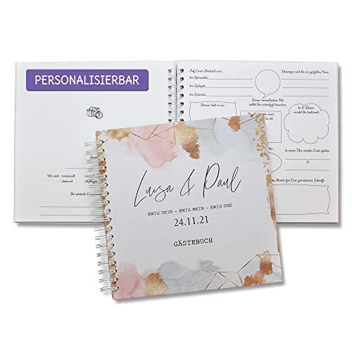 Gästebuch Hochzeit mit vorgedruckten Fragen zum Ausfüllen, Hochzeitsägstebuch Hardcover Namen
