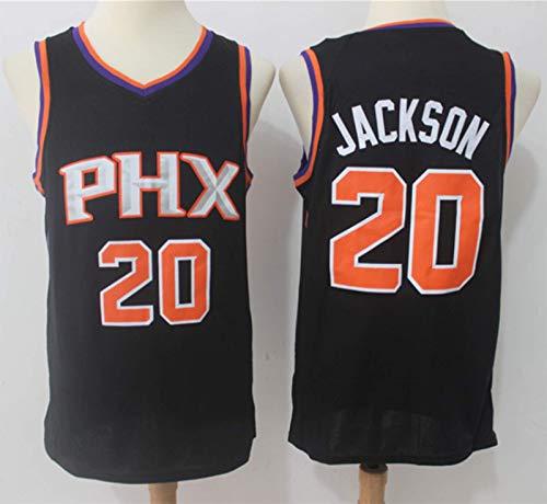 XHDH Jersey para Hombres - NBA Suns # 20 Jackson Baloncesto Uniforme, Transpirable Y Sudor Secado Rápido Training Uniforme,Negro,XXL 185~190cm
