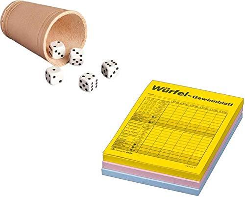RNK Würfelspielset Würfelbecher 5 Würfel 3 Blocks limitiertes Spiel-Set