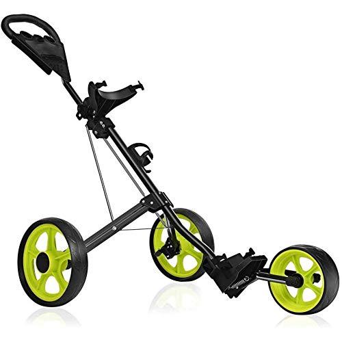 WLOWS Golf Push Cart Golf Cart Für Golftasche Golf Push Carts 3-Rad-Klapp Für Männer Frauen Golf Cart Zubehör Und Notwendigkeiten Leicht Zu öffnen