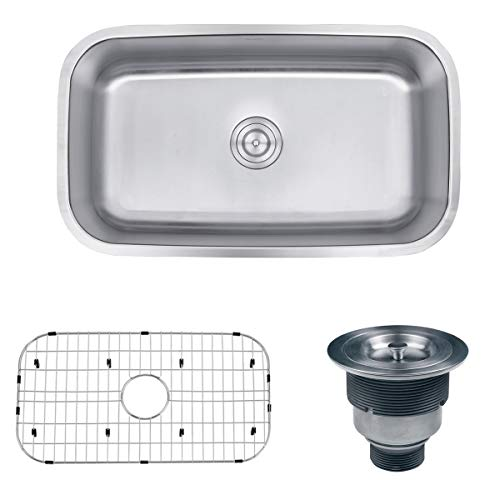 Read About Ruvati 32-inch Undermount 16 Gauge Stainless Steel Kitchen Sink Single Bowl - RVM4200