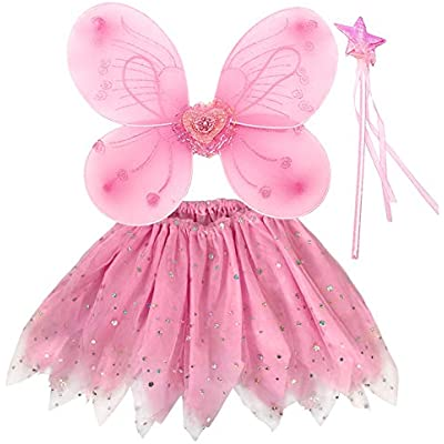 GIRLS PINK FAIRY HAIR BAND AND WAND WITH BUTTERFLIES IDEAL DRESSING UP