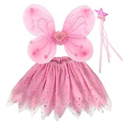 ♜Cute Pink Fairy set♜-- Candy pink fairy wings set looks dreamy and fun, it is pleasant girls dress up set. This princess fairy costume is great party costume for your little daughter or granddaughter. ♜Wing, tutu and wand♜-- 1x butterfly wing, 1x tu...