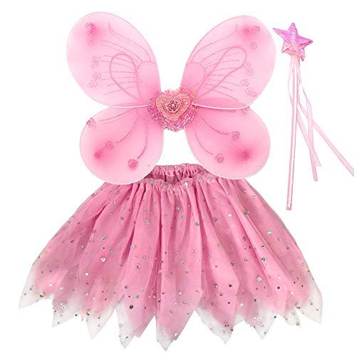 EQLEF Fee Kostüm Mädchen, Prinzessin Fee Kostüm Fee Schmetterlingsflügel für Mädchen Tutu Flügel festgelegt - Set von 3 (Rosa)