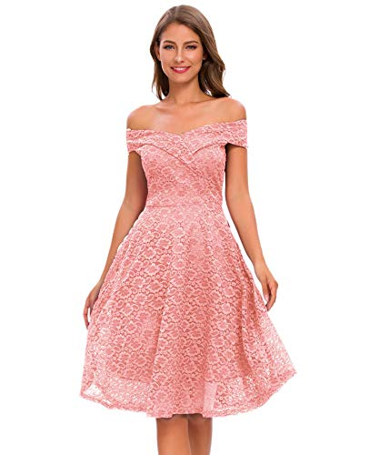 Bright Deer Women's Elegant Bardot Off Shoulder Floral Lace Bridesmaid Dress Birthday Wedding Party Celebrity Graduation Date Outfit 6 S Pink