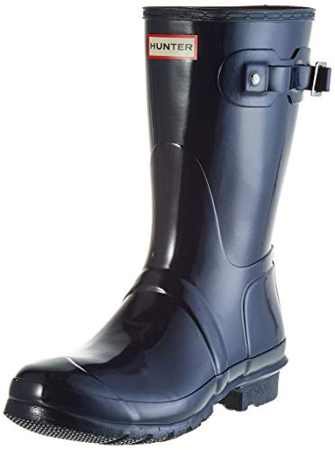 Hunter Original Short Gloss Wellington Boots - Botas de Caucho para Mujer, Azul (Navy), 40 - 41 EU