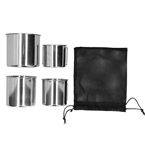 Taza para beber, taza de acero inoxidable durable con bolsa de malla para acampar al aire libre