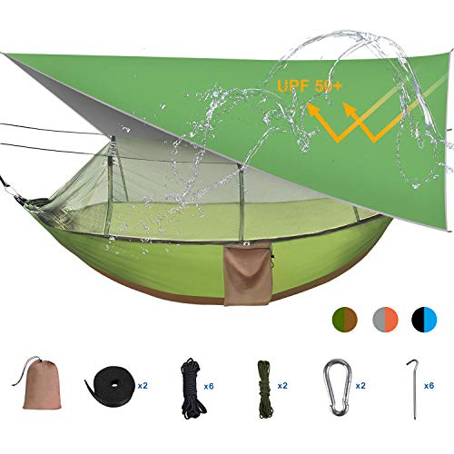 Camping Hammock Tent with Mosquito Bug Net and Rainfly Cover (Sun Shelter UPF 50+), Lightweight, to 1-2 Persons (Adult/2 Kids), Max Load 660lbs (Green)