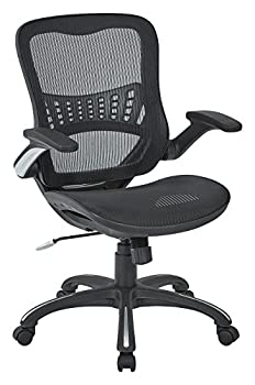 Office Star Mesh Back & Seat 2-to-1 Synchro & Lumbar Support Managers Chair Black