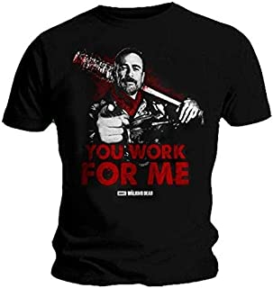 The Walking Dead You Work FOR ME Negan Lucille Fashion Unisex T Shirt Short Sleeve T-Shirt Men's Funny Black T-Shirt