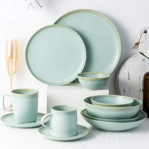 Ceramics Dinnerware Set, Cereal Bowl and Steak Plate Set of 34 | Simple European Style Porcelain Dinner Sets for Wedding Housewarming Gift