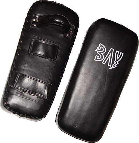 "BAY® LEDER ""Thai Tech"" Arm Schlagpolster, schwarz, Makiwara, Armpratze, Kick Punch Muay Thai Pad, Kickboxen, Thaiboxen, MMA K1 K-1 Schlagmitt Pratze Pratzen Armschlagpolster Thaipad Schlagkissen Armpratzen Armpolster UFC Free Fight"