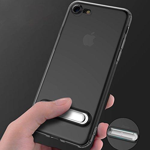 Schokbestendig telefoonhoesje TPU + PC Anti-drop Transparante beschermhoes voor IPhone 8 en 7 met gegalvaniseerde magnetische beugel, ZILVER