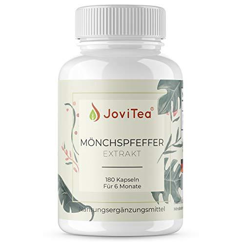 JoviTea® Mönchspfeffer Vitex Agnus Castus - 180 vegane Kapseln je 15 mg Extrakt Vorrat für 6 Monate - Hergestellt in Deutschland