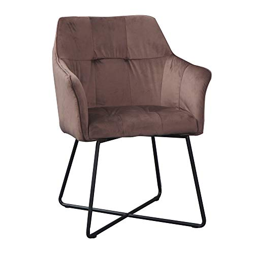 DuNord Design stoel eetkamerstoel bruin met armleuningen industrieel design keukenstoel beklede stoel